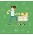 Man with a cart full of different goods vector image