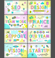 modern creative banners set with linear icons vector image vector image