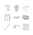 office linear icon set simple outline icons vector image