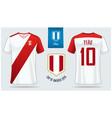 peru soccer jersey or football kit mockup vector image
