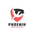 phoenix bird shield logo vector image vector image