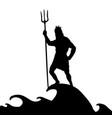 poseidon neptunus god silhouette ancient mythology vector image vector image