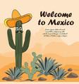 saguaro cactus in sombrero vector image