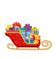 santa claus sleigh with gifts vector image