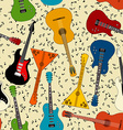 seamless pattern guitars vector image vector image