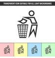 simple outline transparent trash bin man icon vector image