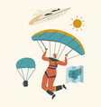 skydiver character jumping with parachute soaring vector image vector image