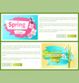 spring sale advertisement labels branch of sakura vector image vector image