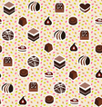 sweet pattern assortment of chocolates candy vector image vector image