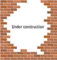 Text frame in broken brick wall vector image