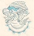 Thai style white monkey sketch Hanuman Ramayana vector image