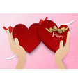 two hand open red heart gift box with red ribbon vector image