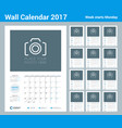 wall calendar planner template for 2017 year set vector image vector image