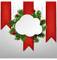 White cloud paper christmas card vector image vector image
