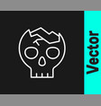 white line broken human skull icon isolated on vector image vector image