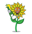 with beer sunflower mascot cartoon style vector image