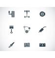 black car parts icons set vector image
