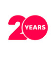20 years anniversary logo template isolated red vector image vector image