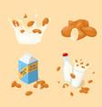 almond milk glass splash bottle pack icon set vector image vector image