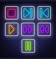 big collection neon music symbols neon symbols vector image vector image
