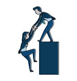 businessman helping to climb businesswoman vector image