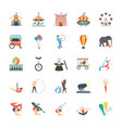 carnival circus flat icons vector image