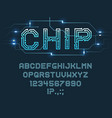 chip type font alphabet letters and digits vector image vector image