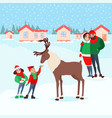 christmas scene with kids family winter holidays vector image