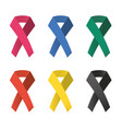 collection of 6 color awareness ribbons vector image vector image