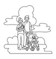 couple with bacarriage black and white vector image vector image