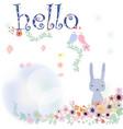 cute rabbit in flower bush vector image