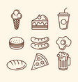 delicious fast food icons vector image