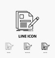 document file page pen resume icon in thin vector image
