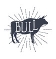 farm animals icons silhouette bull vector image