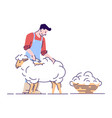 farmer shearing sheep flat character wool vector image vector image