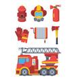 firefighter service set fire extinguishing vector image vector image