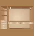 flat design walk in closet with shelves vector image vector image
