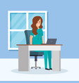 general practitioner in consulting room vector image