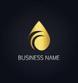 gold droplet water bio logo vector image