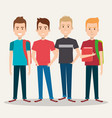 Group of four boy cartoon teenager students
