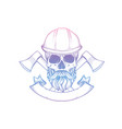 hand drawn sketch skull with helmet vector image vector image