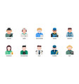 jobs and occupations icons set vector image vector image