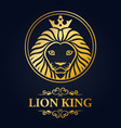 king lion head mascot on blue background vector image vector image
