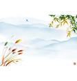 landscape with bamboo tree leaves grass