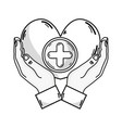 Line hands with heart medicine symbol to help the
