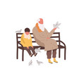 little cute boy and old bearded male sitting vector image vector image