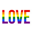 love text with colors lgbt lesbian gay vector image