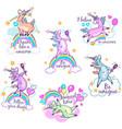 magical cute unicorn stickers vector image