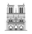 notre dame de paris cathedral line art style vector image vector image