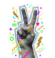 peace hand sign engraved style hand vector image